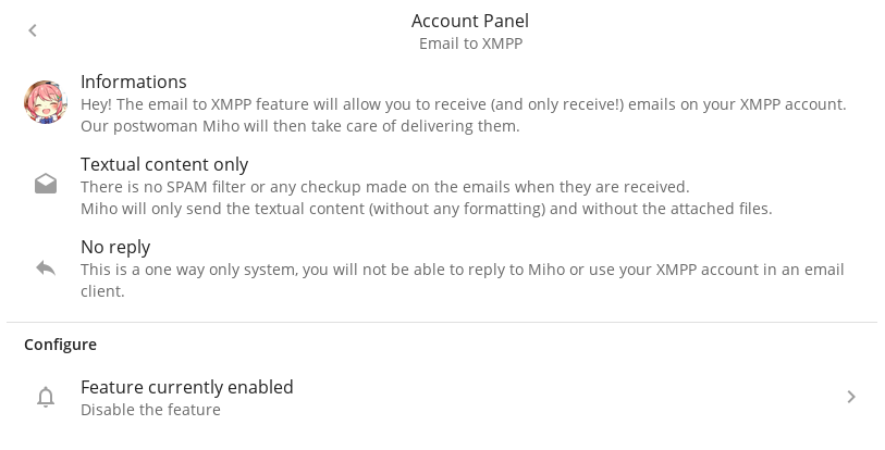 The Email to XMPP feature